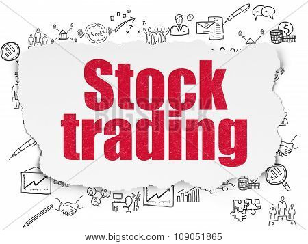 Finance concept: Stock Trading on Torn Paper background