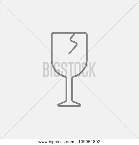 Cracked glass line icon for web, mobile and infographics. Vector dark grey icon isolated on light grey background.