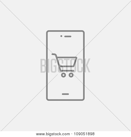 Mobile phone with shopping cart on a screen line icon for web, mobile and infographics. Vector dark grey icon isolated on light grey background.