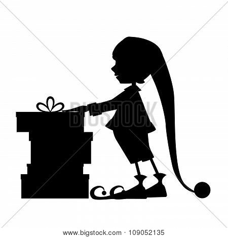 Cute Elf Silhouette And Christmas Gifts