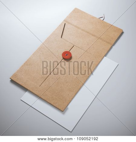 Empty opened folder and sheet of paper.