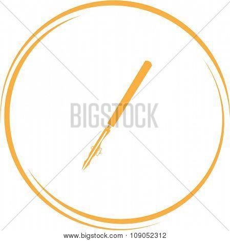 ruling pen. Internet button. Vector icon.