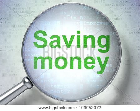 Finance concept: Saving Money with optical glass