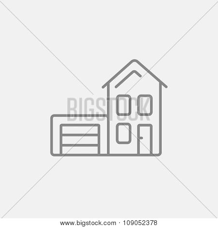 House with garage line icon for web, mobile and infographics. Vector dark grey icon isolated on light grey background.