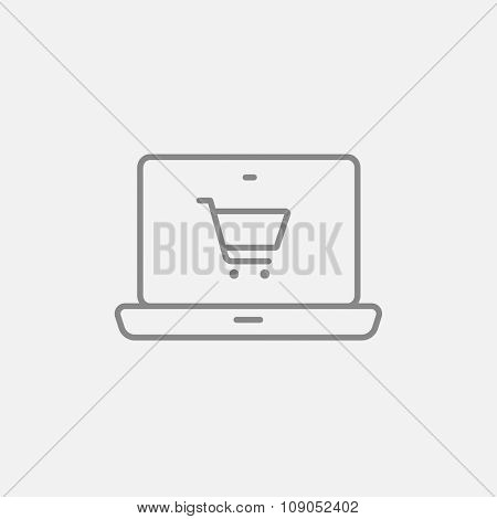 Laptop with a shopping cart on a screen line icon for web, mobile and infographics. Vector dark grey icon isolated on light grey background.