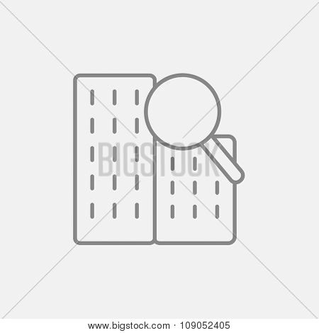Condominium and magnifying glass line icon for web, mobile and infographics. Vector dark grey icon isolated on light grey background.