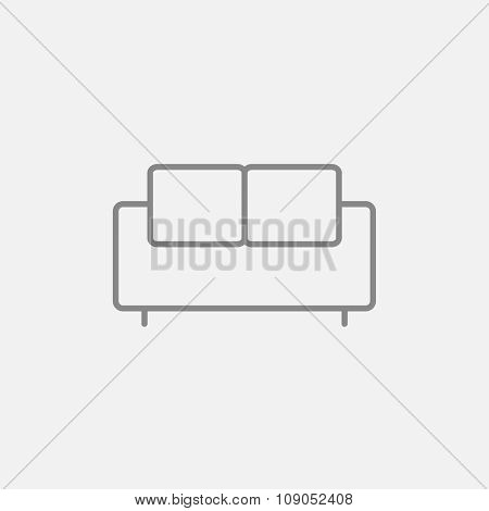 Sofa line icon for web, mobile and infographics. Vector dark grey icon isolated on light grey background.