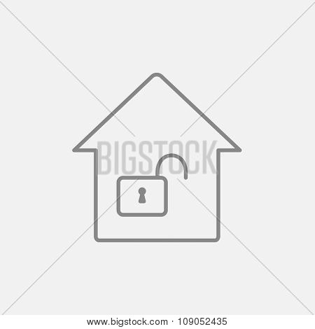 House with an open lock line icon for web, mobile and infographics. Vector dark grey icon isolated on light grey background.