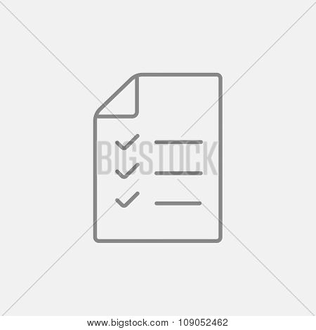 Shopping list line icon for web, mobile and infographics. Vector dark grey icon isolated on light grey background.