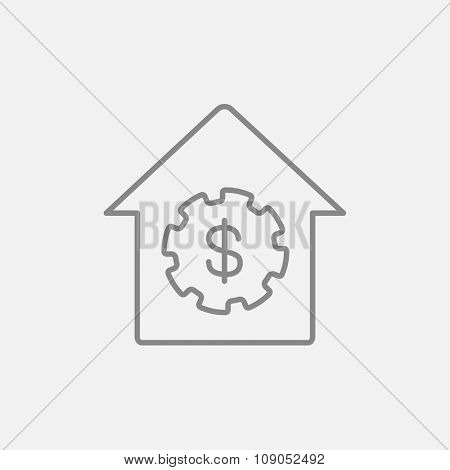 House with dollar symbol line icon for web, mobile and infographics. Vector dark grey icon isolated on light grey background.