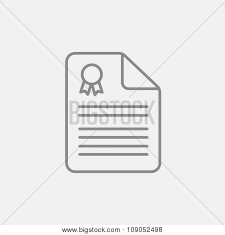 Real estate contract line icon for web, mobile and infographics. Vector dark grey icon isolated on light grey background.