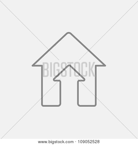 Growth of real estate market line icon for web, mobile and infographics. Vector dark grey icon isolated on light grey background.