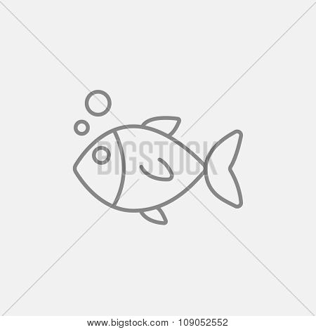 Little fish under water line icon for web, mobile and infographics. Vector dark grey icon isolated on light grey background.