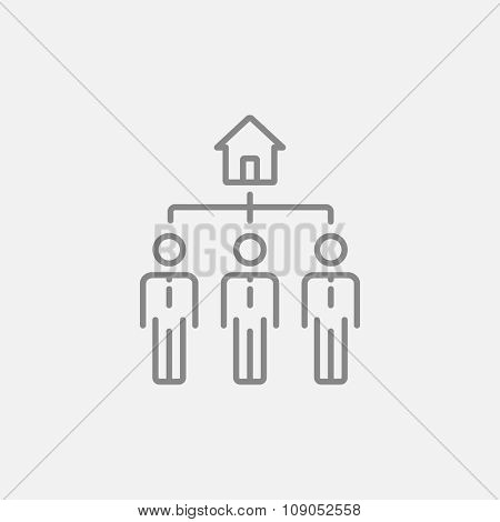 Three real estate agents line icon for web, mobile and infographics. Vector dark grey icon isolated on light grey background.