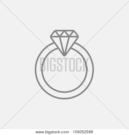 Diamond ring line icon for web, mobile and infographics. Vector dark grey icon isolated on light grey background.