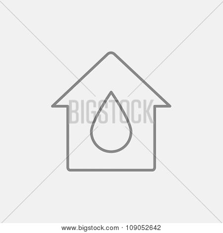 House with water drop line icon for web, mobile and infographics. Vector dark grey icon isolated on light grey background.