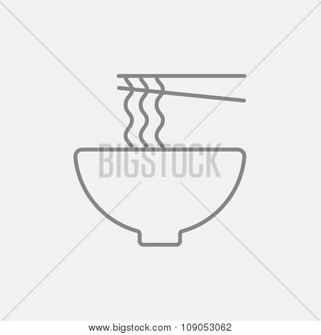 Bowl of noodles with a pair of chopsticks line icon for web, mobile and infographics. Vector dark grey icon isolated on light grey background.