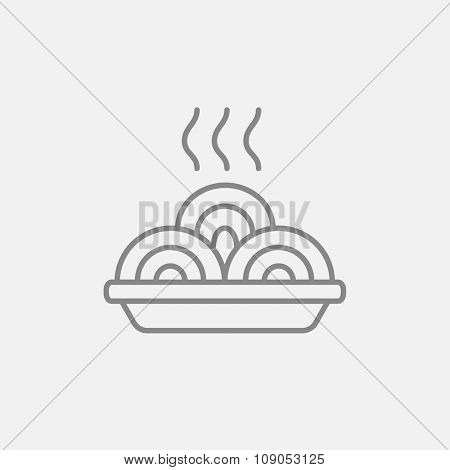 Hot meal in plate line icon for web, mobile and infographics. Vector dark grey icon isolated on light grey background.