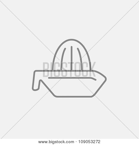 Lemon squeezer line icon for web, mobile and infographics. Vector dark grey icon isolated on light grey background.