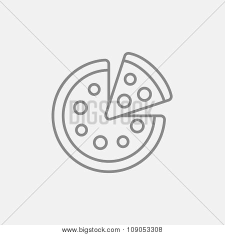 Whole pizza with a slice line icon for web, mobile and infographics. Vector dark grey icon isolated on light grey background.