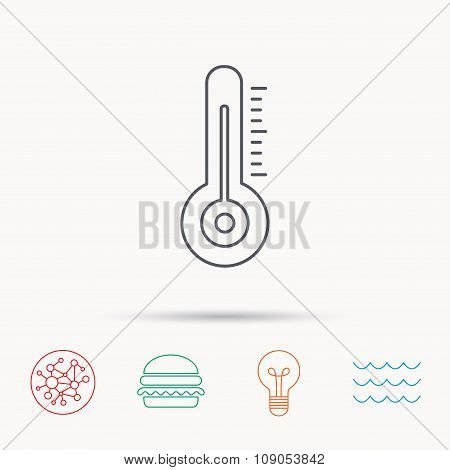 Thermometer icon. Weather temperature sign.
