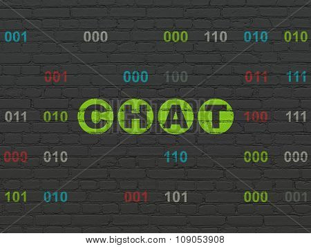 Web development concept: Chat on wall background