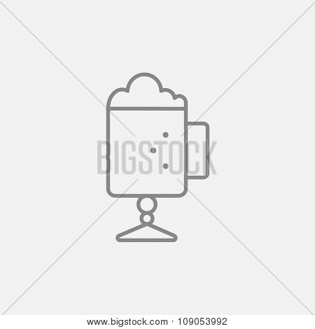Glass mug with foam line icon for web, mobile and infographics. Vector dark grey icon isolated on light grey background.