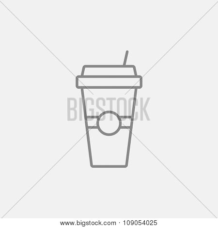Disposable cup with drinking straw line icon for web, mobile and infographics. Vector dark grey icon isolated on light grey background.