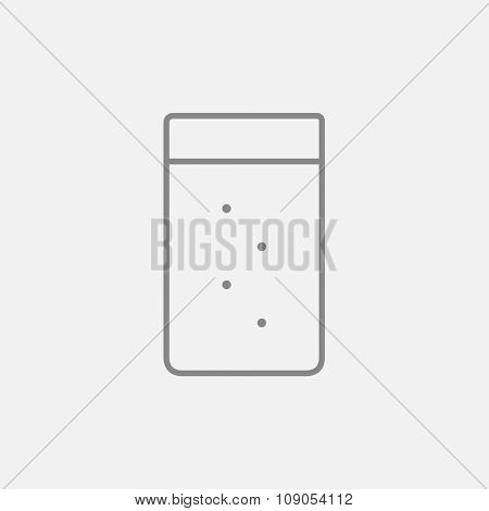 Glass of water line icon for web, mobile and infographics. Vector dark grey icon isolated on light grey background.