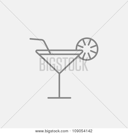 Cocktail glass line icon for web, mobile and infographics. Vector dark grey icon isolated on light grey background.