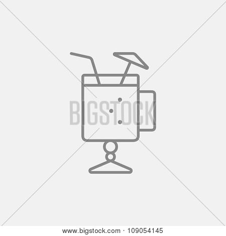 Glass with drinking straw and umbrella line icon for web, mobile and infographics. Vector dark grey icon isolated on light grey background.