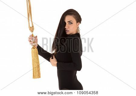 attractive woman in bodysuit with brush
