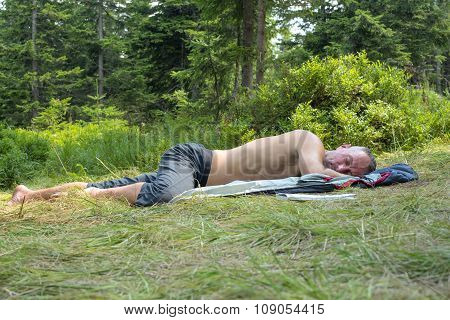 Hiker Man Relaxing, Lying On A Glade In Coniferous Forest And Sleeping After A Difficult Trekking.