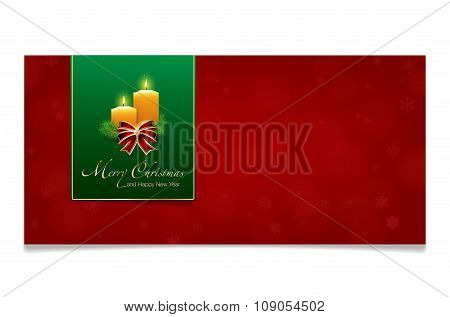 Red Merry Christmas And Happy New Year Card