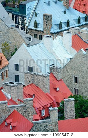 Colorful old roof of architecture in Quebec City
