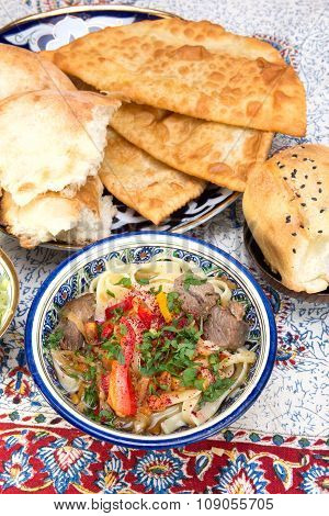 Lamian - Central Asian Noodles Cooked With Mutton And Vegetables