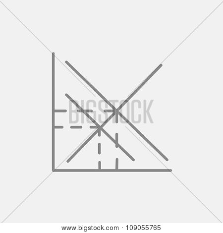 Mathematical graph line icon for web, mobile and infographics. Vector dark grey icon isolated on light grey background.