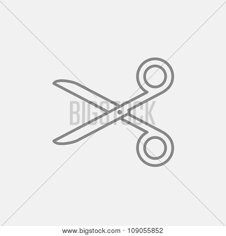 Scissors line icon for web, mobile and infographics. Vector dark grey icon isolated on light grey background.