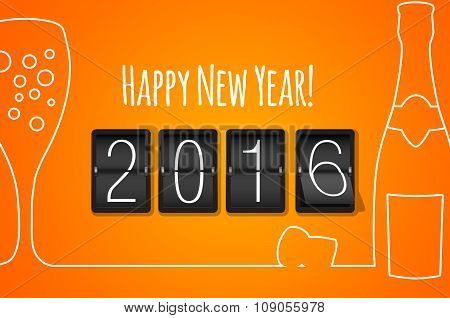 Happy New Year 2016- Orange Flat Design Background