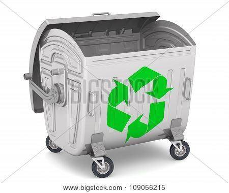 Open trash container with the international recycling symbol