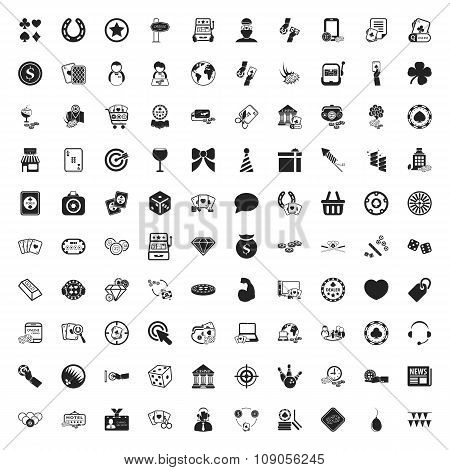Casino 100 Icons Universal Set For Web And Mobile Flat