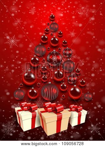 Christmas background red with christmas tree, gift box and shiny balls. Vector illustration.