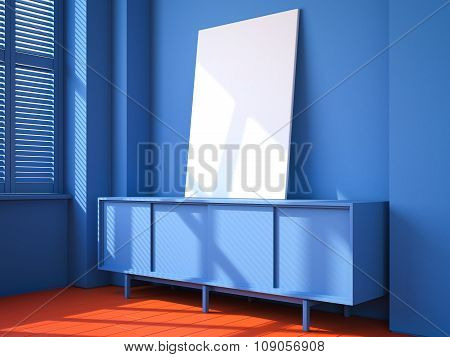 Blue interior with red floor and blank canvas