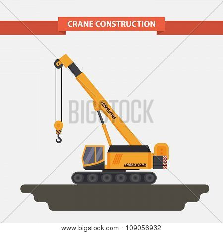 mobile crane, tractor. flat, isolated background