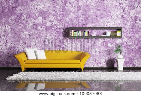 Interior With Sofa And Bookshelf 3d rendering