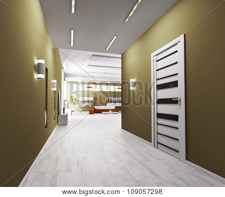 Interior Of Hall 3d rendering