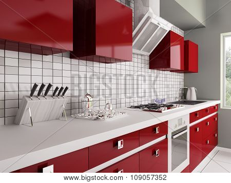 Modern Red Kitchen Interior 3d rendering