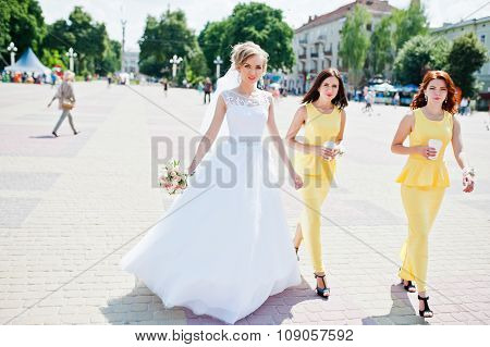 Bridesmaid At Yellow Dresses Walking And Bride