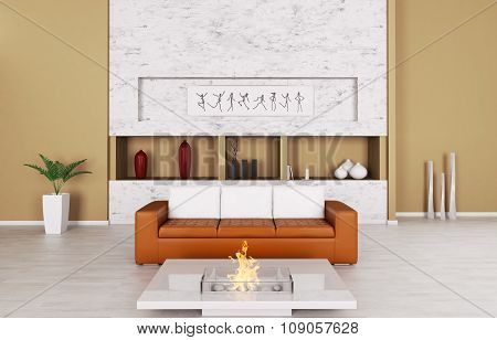 Interior Of A Room With Sofa And Fireplace 3d rendering