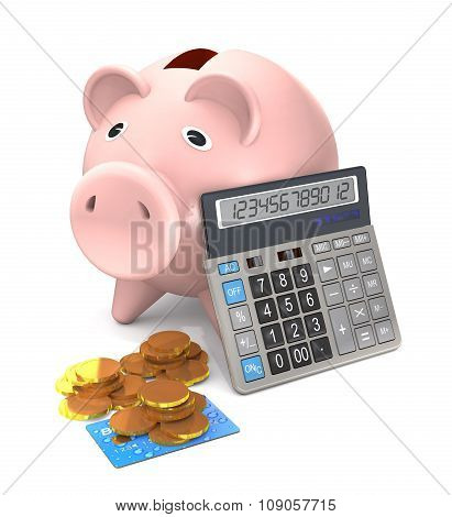 Piggy Bank, Electronic Calculator And Gold Coins Are On A White Background.